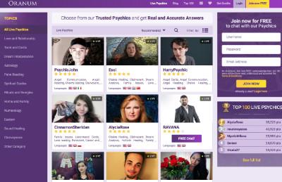 Oranum's home page